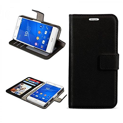 eFabrik Schutz Tasche für Sony Xperia Z3 Compact Hülle Handy Zubehör Bookstyle Hülle Aufsteller Innenfächer Wallet Kunstleder Schwarz