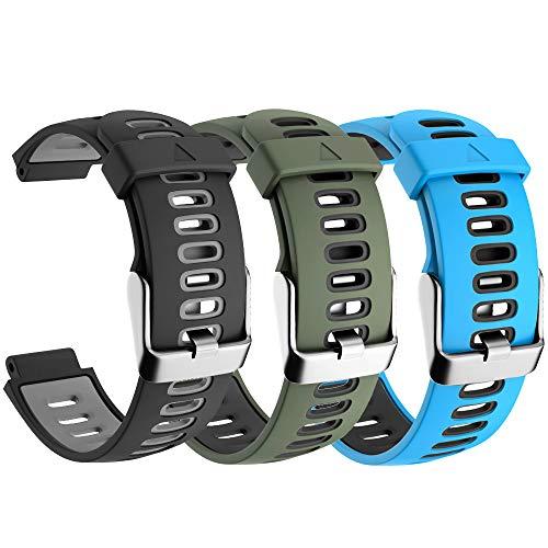 CAKAMENSHY Correa de reloj compatible con Garmin Forerunner 735XT 220 230 235 620 630 Approach S20 S5 S6 Banda de silicona suave con hebilla de metal para reloj inteligente Garmin (3 unidades)