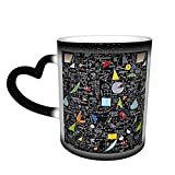 Oaieltj Tazas cambiantes de calor divertidas de vuelta a la escuela Álgebra personalizada sensible al calor cambiante taza de café mágica taza de té de leche