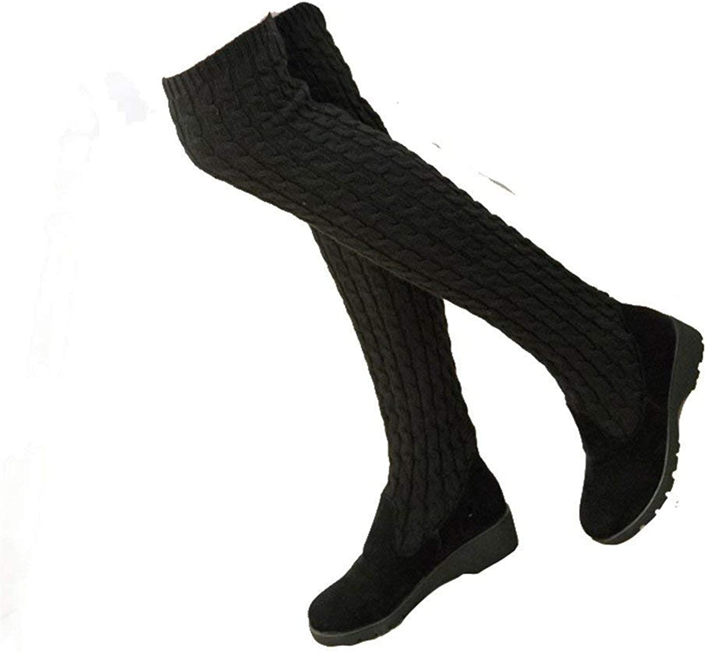 DEED Damen Stiefel elastische Oberschenkel Stiefel Lange Lange Lange Kanister Party mit dicken Sohlen Freizeitschuhe  95f2f4