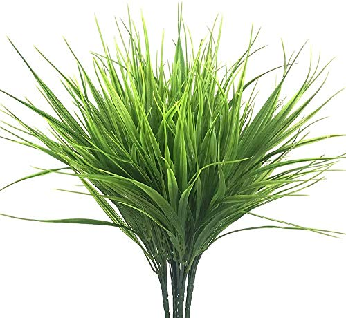 SzJias Artificial Wheat Grass Outdoors Faux Plastic Wheat Grass UV Resistant Artificial Plants Greenery for Home Garden Office for Decoration (6 pcs)