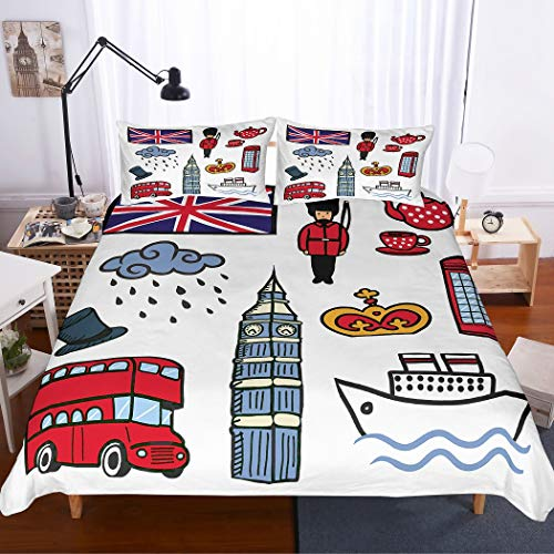 MOUMOUHOME London Holiday Bedding Set 3D Big Ben Tower Red Buses Boat Rainy Cloud Knight Flag of UK White Duvet Cover Set for Kids Boys nad Girls 2 Pieces with 1 Pillowcase Single Size