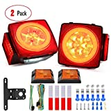Nilight 2PCS Square LED Trailer Light Kit with Halo Glow Submersible LED Stop Turn Tail Side Marker Clearance License Light for 12V Trailer Boat Camper RV Trucks Snowmobile (TL-41)