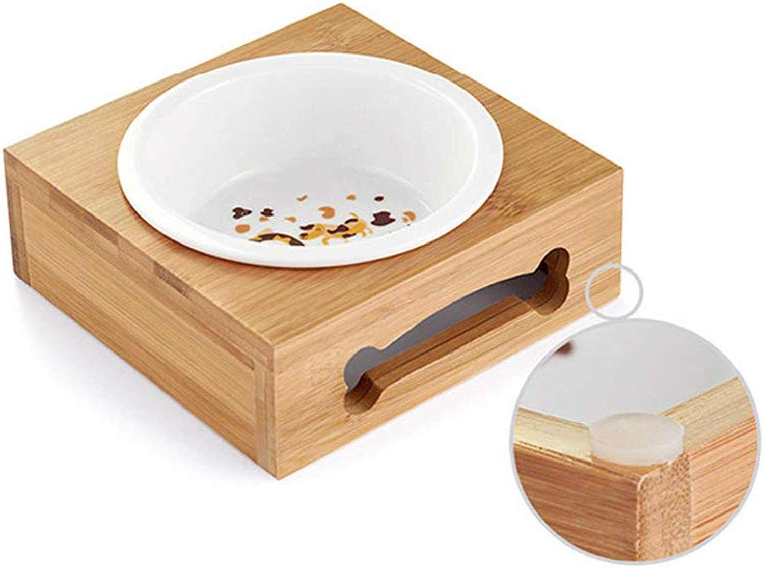 LLYU Pet bowl cat Dog pet Food Feeder with Bamboo Frame, Easy to Clean (14  14  5.3CM)