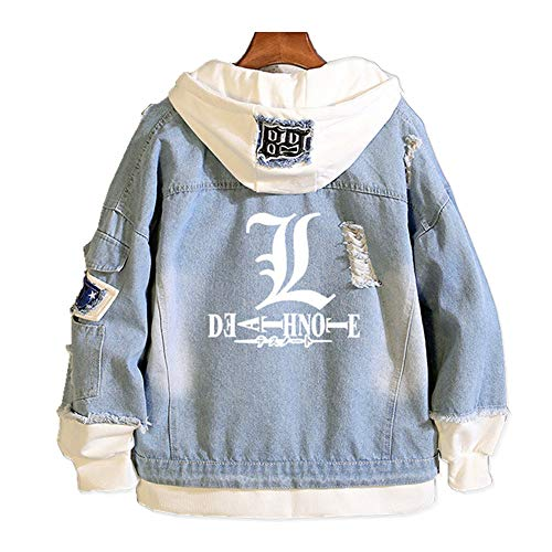 Death Note Hooded Coat Cosplay Misa Amane Costume Men Trucker Jacket Woman Denim Jacket Classic Ripped Slim Denim Jacket with Holes (M, SW-1)