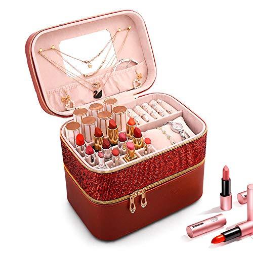 ASDFG Opbergdoos, voor lippenstift, make-uptas, draagbaar, opbergdoos, stofdicht, met spiegel, koffer