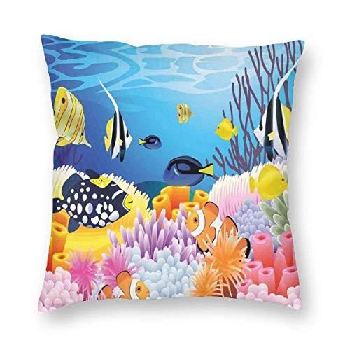 Fleeting Art Studio Funda de cojín cuadrada portátil con diferentes tipos de peces, arrecifes de coral y esponjas, para guardería, para sofá, decoración del hogar, 55 x 55 cm, 3 unidades