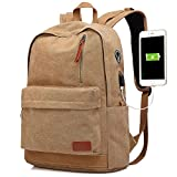 Canvas Laptop Backpack, Waterproof School Backpack With USB Charging Port For Men Women, Lightweight Anti-theft Travel Daypack College Student Rucksack Fits up to 15.6 inch Computer(Brown)