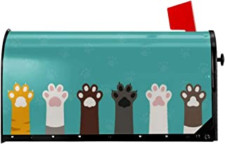 Foruidea Cartoon Cute Cat Foot Dog Paw Mailbox Covers Magnetic Mailbox Wraps Patriotic Post Letter Box Cover Standard Oversize 21 X 18 Makover MailWrap Garden Home Decor