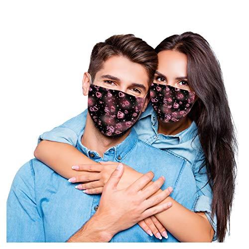 Dittodom Einweg-Gesichtsmasken, waschbar, für Paare, Männer, Frauen, Erwachsene, Happy Valentine's Day, Herzen, 3-lagig, atmungsaktiv, weich, für Outdoor-Hochzeits-Party, 17,8 x 10 cm, 50 Stück