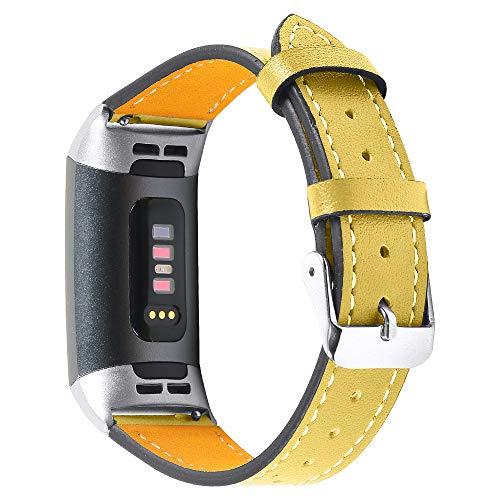 Jennyfly Correa de reloj compatible con Fitbit Charge 3/Charge 4, correa de repuesto de cuero genuino para mujer y niña, con hebilla de metal ajustable de 5.5 a 8.0 pulgadas, color amarillo