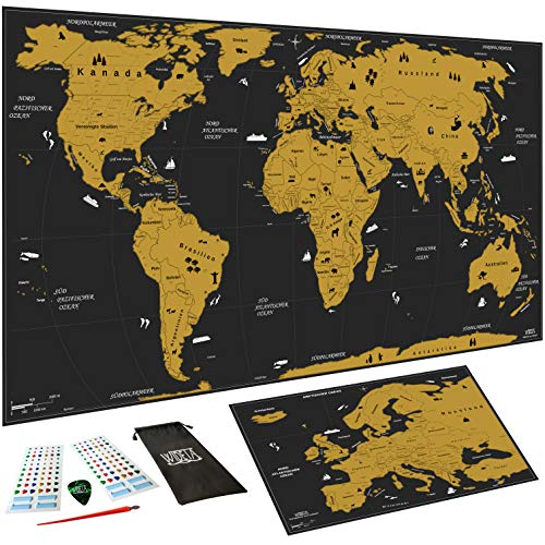 WIDETA Weltkarte zum Rubbeln in Deutsch, XXL (82 x 43 cm)/ Bonus Karte von Europa, Rubbelwerkzeuge, 3D Aufkleber und Geschenkverpackung