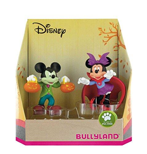 Bullyland 15082 - Spielfigurenset, Walt Disney Mickey und Minnie im Halloweenkostüm, liebevoll handbemalte Figuren, PVC-frei, tolles Geschenk für Jungen und Mädchen zum fantasievollen Spielen