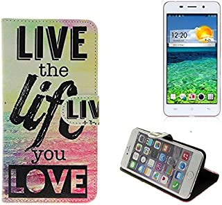 K-S-Trade 360° Funda Smartphone para Cubot X9, Live The Life You Love'   Wallet Case Flip Cover Caja Bolsa Caso Monedero BookStyle