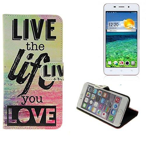 K-S-Trade Schutzhülle Für Cubot X9 Schutz Hülle 360° Wallet Hülle ''live Life Love'' Schutzhülle Handy Tasche Handyhülle Etui Smartphone Flip Cover Standfunktion (1x)