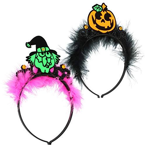 com-four® 2x Haarreif Halloween - Haarreif mit Kürbis- und Hexen-Motiv - Kostüm für Halloween und Fasching (02 Stück - Kürbis/Hexe)