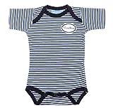 Strampler Babybody Spieler Body Baby Wunschkind Blau Weiß Gestreift Blauer Print 100% Baumwolle Fair Trade Ringelsuse
