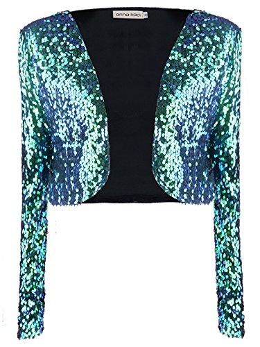 ANNA-KACI Womens glanzende pailletten lange mouwen Cropped Blazer Bolero Shrug