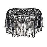 GELing Mujer Bolero Lentejuela Capa Shrug Shrug Negras Flapper Art Deco Vestido de la Vendimia Vestido Negro