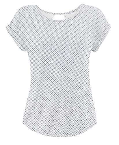 Yidarton T Shirt Damen Basic Tee Damen T-Shirt Damenblusen Kurzarm mit Allover-Minimal Print Lose Stretch Sommer Tops Weiß S