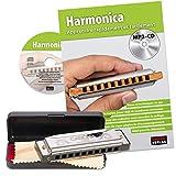 CASCHA Harmonica set débutant avec livre, apprenez à jouer de l'harmonica blues, y compris étui, tissu et manuel, harmonica en do majeur