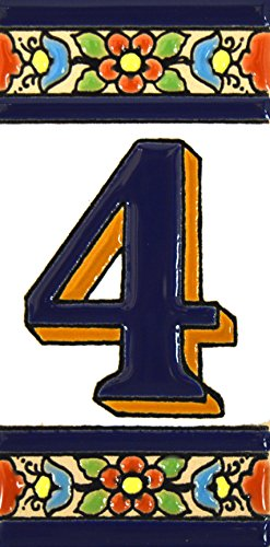 Números casa. Letreros con numeros y letras en azulejo de ceramica policromada, pintados a mano en técnica cuerda seca para placas con nombres, direcciones y señaléctica. Texto personalizable. Diseño FLORES MEDIANO 10,9 cm x 5,4 cm. (NUMERO CUATRO '4')