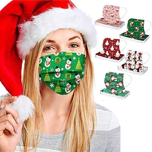 Beauteye 50 Stück Weihnachten Einweg Mund_Schutz 3 lagig Mund-Nasen-Schutz Multifunktionstuch Bandana Staubdicht Atmungsaktiv Mund-Nasen Bedeckung Halstuch Schals für Erwachsene