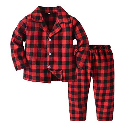 FeiliandaJJ Baby Schlafanzug Mädchen Jungen Weihnachten Kariert Pyjama Set Langarm Baumwolle Zweiteiliger Schlafanzüge Kinder Nachtwäsche 92 98 104 110 116 122 (Rot, 120 (3-4 Jahre))