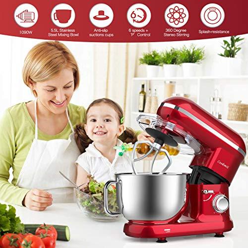 Cookmii Küchenmaschine 1090 Watt Knetmaschine Rührmaschine Teigmaschine Rührgerät, 5,5 Liter-Rührschüssel, 6-stufige Geschwindigkeit Rot - 4