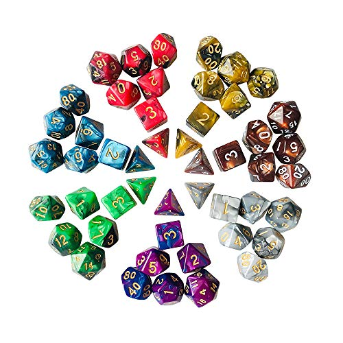 YH Poker Polyhedral 7x7 RPG Double Colors Series dice Set - Dungeons and Dragons DND RPG MTG Table Games Dice