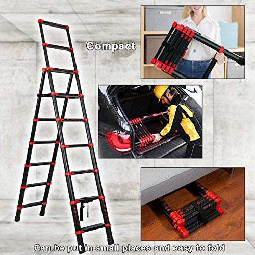 Telescoping Ladder A-Frame Aluminum Folding Ladder, Multi-Purpose Step Ladder Portable Extension Ladders with Independent Adjustable Lock and Anti-Slip Pedal (7+9)