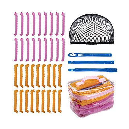 Rizadores de pelo, kit de peinado de rizos en espiral, herramientas para enrolar el cabello con 1 gancho para peinar y 1 gorra de peluca delineadora de 19.7 pulgadas