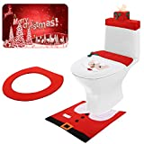 3D Nose Santa Toilet Seat Cover Set Christmas Toilet Cover Decorations Xmas Bathroom Decorations for Christmas Holiday Home Decor, 5 Pieces Totally