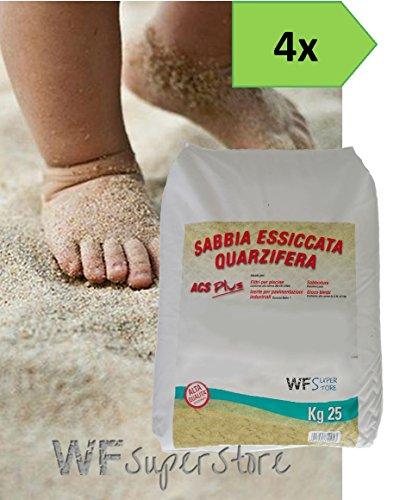 WUEFFE Sabbia Gioco Bimbi certificata A.C.S. - 4 Sacchi da kg. 25 - sabbiera Bambini