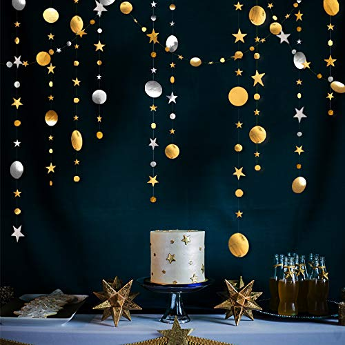 52 Ft Gold Silver Star and Circle Dot Garland Decorations, Metallic Sparkling Circle Garlands Streamer Backdrop, Glittery Hanging Bunting Banner Decorations for Kids Birthday Party,Baby Shower,Wedding