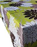 Valia Home Tischdecke Tischtuch Tafeldecke schmutzabweisend wasserabweisned Lotuseffekt pflegeleicht eckig für drinnen und draußen 140 x 180 cm Blumen-Design