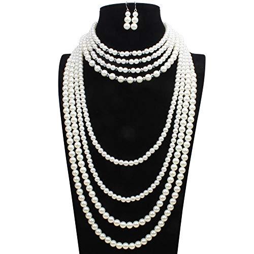 Ouuager-Home Sistemas de la joyería Conjunto Collar Pendientes del Collar de Cristal de Estilo Victoriano simulado Perla Larga del Estilo cuelga los Pendientes Conjunto Decoración del Partido