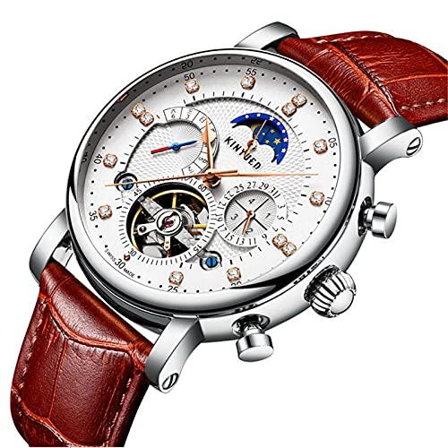 JTTM Tourbillon Hombre Hueco Reloj Mecánico Calendario Semana De Calendario Moda Moda Dial Dial Marrón Reloj De Pulsera,Silver Brown