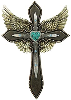LL Home Cross Wings Blue Heart Layered