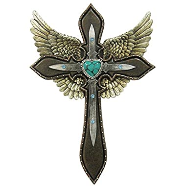 LL Home 12498 Blue Heart Layered Cross Wings