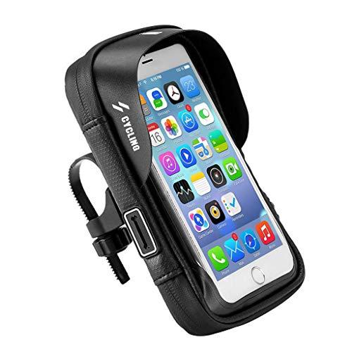 Wasserdicht Fahrradtasche mit Fingerabdrucksensor Fahrrad Oberrohr Handyhalterung Wasserabweisende Ständer Lenkertasche TPU Touchschirm für Smartphone 6 Zoll Ideales MTB Fahrrad Zubehör (Schwarz)