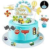 Ulikey Decoration Gateau d'anniversaire Voiture, Cake Topper Véhicules, Decoration Gâteau Pull Back Voiture Bannière de Joyeux Anniversaire Transport Cupcake Toppers pour Enfants