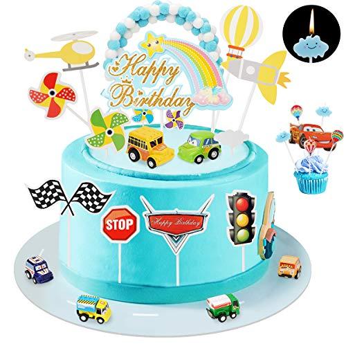 Ulikey Tortendeko Auto Geburtstag, Cake Toppers 1. Geburtstag Spielzeugautos Transport Kuchendeckel, Kuchendekoration mit Kerze, Mini Auto Tortendekoration für Kinder Mädchen Junge
