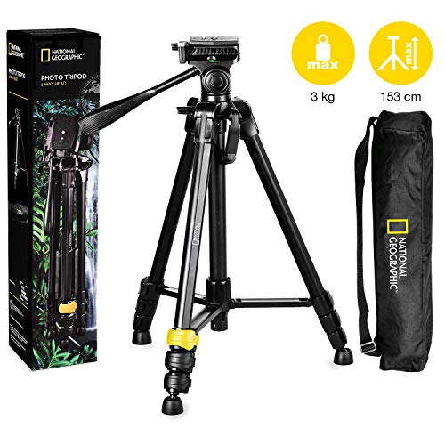 National Geographic PhotoTripod Kit Large, with Carrying Bag, 3-way Head, Quick release, 4-Section Legs Lever Locks, Geared Centre Column,Load up 3kg, Aluminium, for Canon, Nikon, Sony, NGHP001