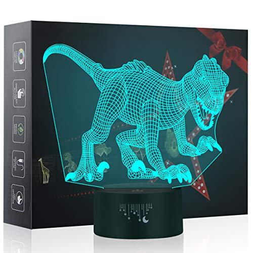 Luz de la noche 3D, Lámpara LED para niños, Juguetes de dinosaurios para Muchachos, 7 colores de iluminación de escritorio táctil con USB, El mejor regalo de los niños