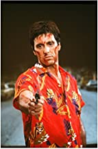 Scarface (1983) 8 Inch x10 Inch Photo Al Pacino Red Hawaiian Shirt w/Gun kn