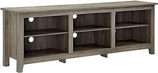Walker Edison Furniture Company 70 inch Wood Media TV Stand Storage Console in Grey Wash