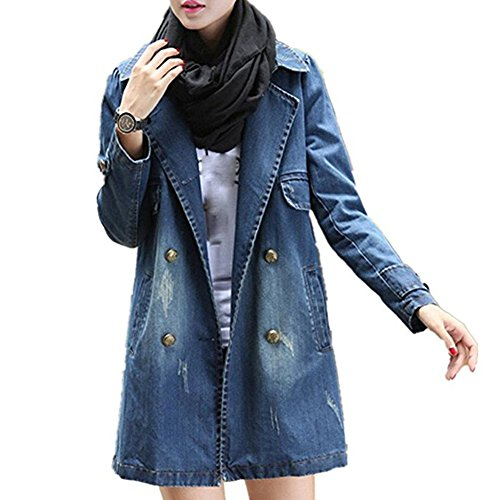 Damen Jacken, GJKK Damen Mode Lässig Langarm Jeansjacke Lang Zweireihiger Mantel Denim-Mantel (S-4XL) (S, Blau)