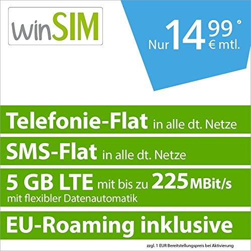 winSIM LTE All 5 GB [SIM, Micro-SIM und Nano-SIM] 24 Monate Laufzeit (5 GB LTE mit max. 225 Mbit/s mit flexibler Datenautomatik, Telefonie-Flat und SMS-Flat, EU-Roaming inklusive, 14,99 Euro/Monat)