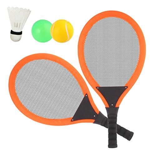 Dreamon Tennisschläger Racket Set mit Badminton bälle Softball Strandspielzeug im Freien für Kinder ab 3 4 5 Jahren (Orange)